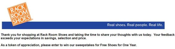 Rack Room Shoes Survey Sweepstakes
