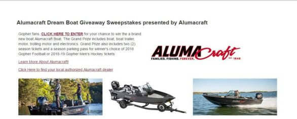 Gopher Football Row the Boat Sweepstakes