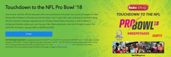 Touchdown to the NFL Pro Bowl 18 Sweepstakes