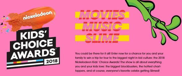 Nickelodeon Kids' Choice Awards Sweepstakes