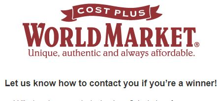 Cost Plus World Market Customer Survey Sweepstakes