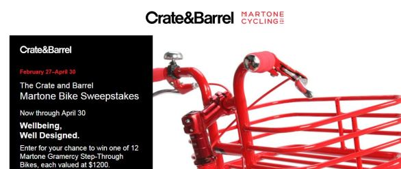 Crate & Barrel Martone Bike Sweepstakes