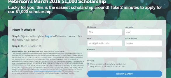 Peterson's March 2018 $1,000 Scholarship Sweepstakes