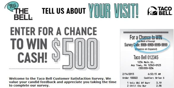 Taco Bell Survey Sweepstakes