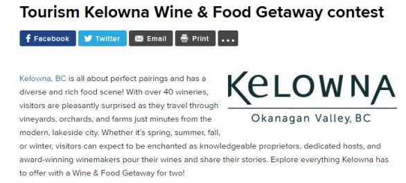 Tourism Kelowna Wine & Food Getaway Contest