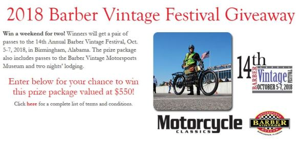 Barber Vintage Festival Sweepstakes