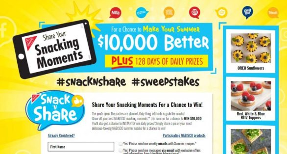 Nabisco Snack 'N Share Sweepstakes