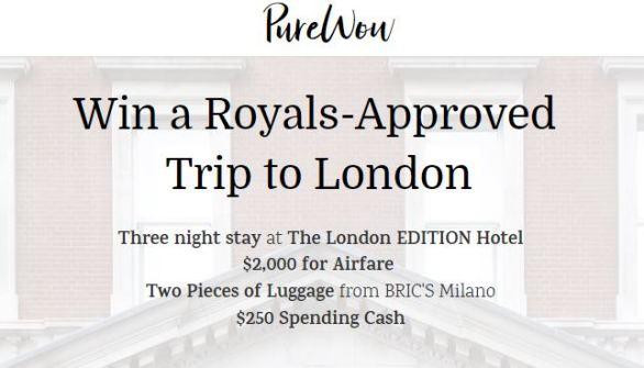 PureWow Royal London Getaway Sweepstakes