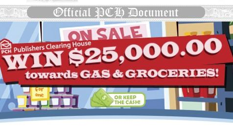 PCH Gas Groceries $25000 Giveaway