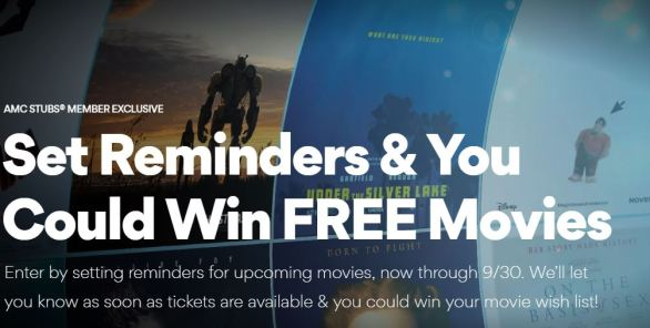 AMC Theatres Remind Me, Win Your Wishlist Sweepstakes