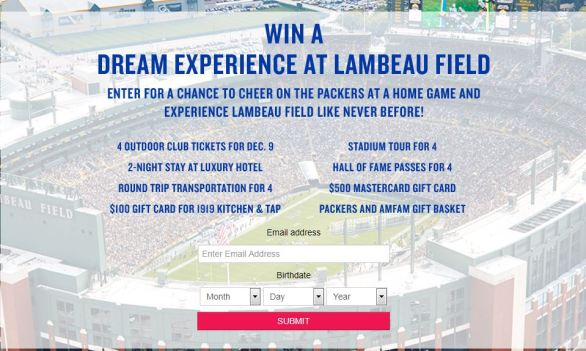 American Family Insurance Green Bay Packer Lambeau Experience Sweepstakes