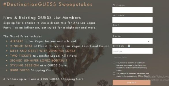 Guess #Destination Guess Sweepstakes