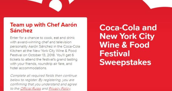 Coca-Cola and New York City Wine & Food Festival (NYCWFF) Sweepstakes