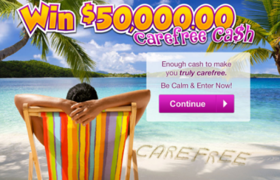 PCH Win $50,000 Carefree Cash Sweepstakes