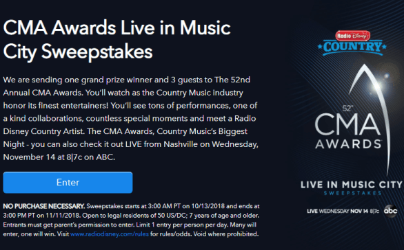 Radio Disney CMA Awards Live In Music City Sweepstakes