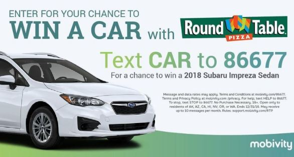Round Table Pizza Car Giveaway