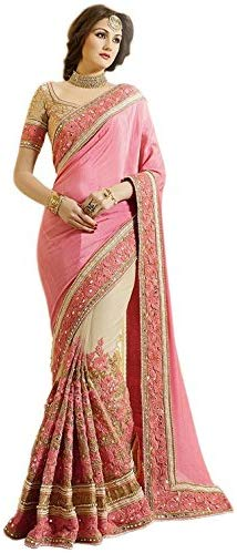Nivah Fashion Women's Satin & Net Half & Half Embroidery work With Real Diamond's Material Saree