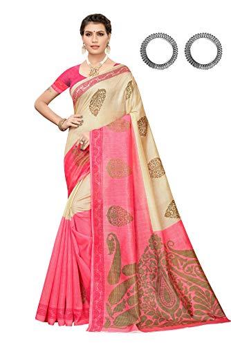 Jaanvi fashion Women's Bhagaluri Silk Paisley Printed Saree with Unstitched Blouse(Sai_pallavi_Pink)