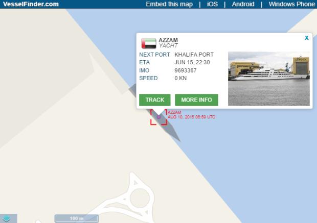 Azzam yacht location