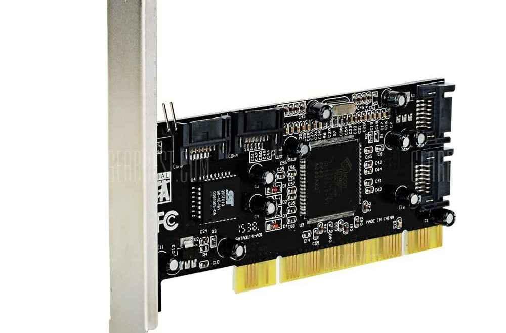 offertehitech-gearbest-Upgrade PCI to SATA 4-Port 3114 Raid Card - Black