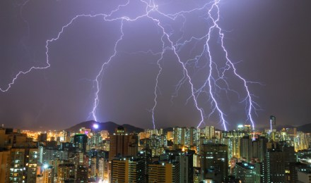 lightning strikes several buildiings