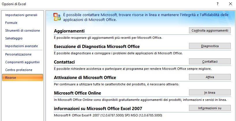 versione Excel 2007 - Office online