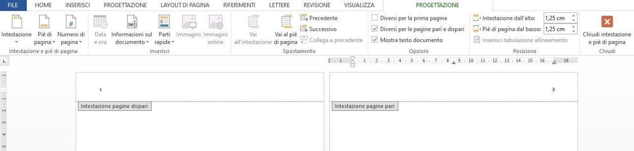 Office online - intestazione per pagine pari e dispari