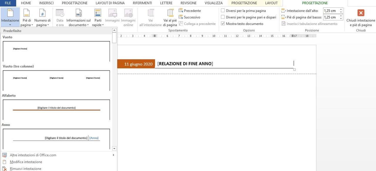 Office online - Word rimuovere intestazione