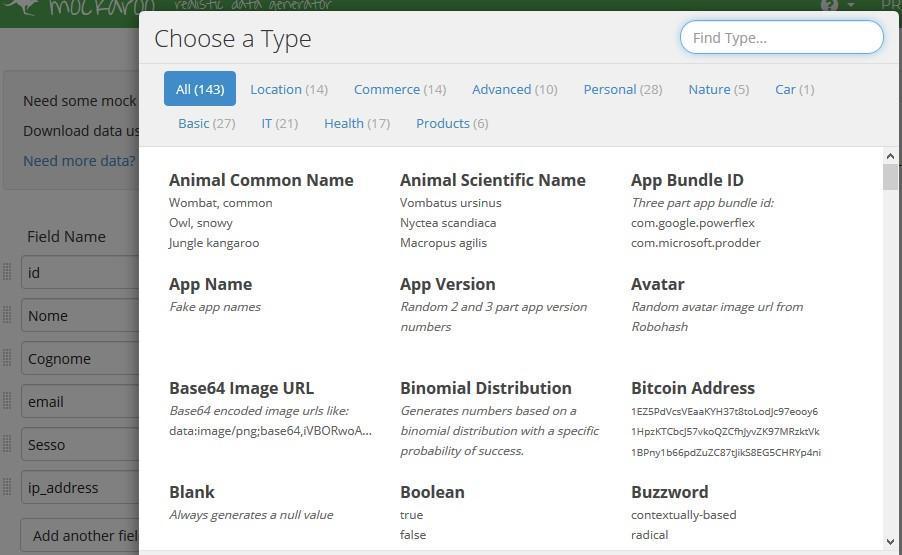 Office online - come modificare il tipo dati in Mockaroo