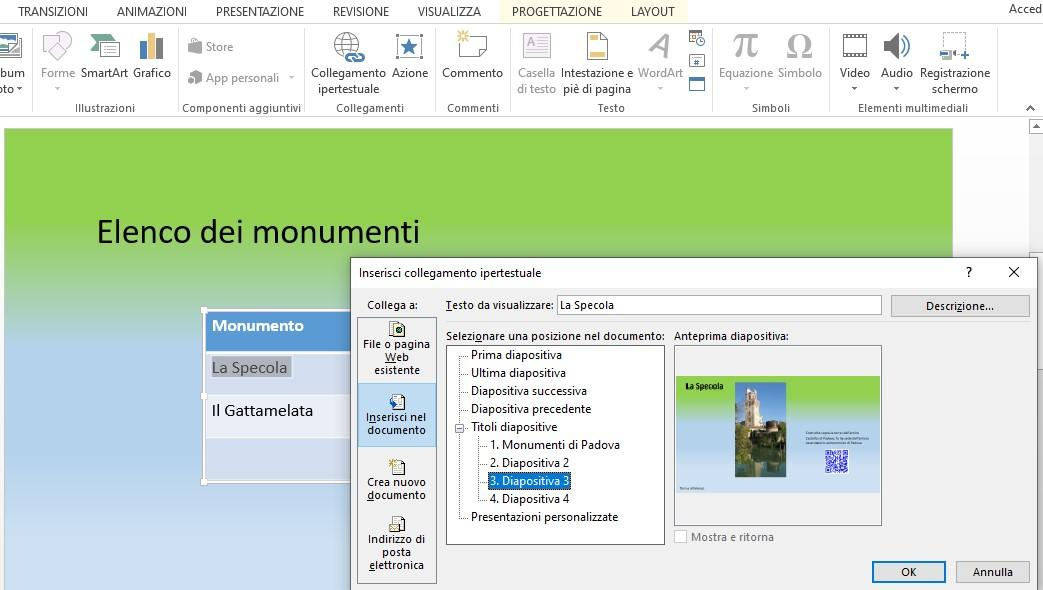 Office online -Inserimento di un link interno in Powerpoint