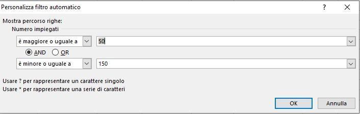 Office online - filtrare dati in Excel filtro personalizzato