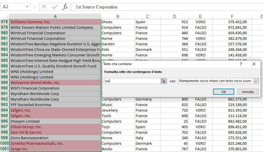 Office online - formattazione condizionale contengono testo