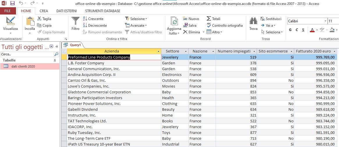 Office online - risultato query di selezione