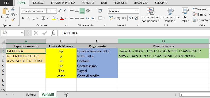 Office online: creare una fattura con Excel - le variabili
