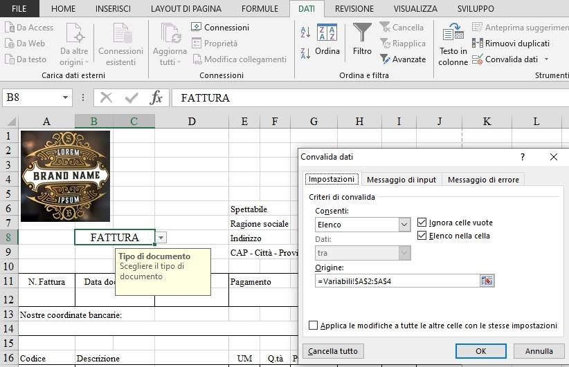 Office online: creare un elenco per la fattura