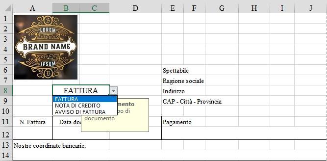 Office online: creare una fattura con Excel - scegli il tipo documento