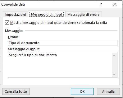 Office online: creare una fattura con Microsoft Excel - messaggio input