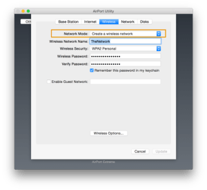 extend network with airport extreme wireless tab selected