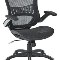 Office Star Mesh Back and Seat, 2-to-1 Synchro and Lumbar Support Managers Chair, Black