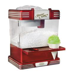 Enjoy classic snow cones, smoothies and other frozen treats  Shaves ice cubes into fluffy snow. Works with standard sized ice cubes.  Built-in safety on/off switch prevents unsupervised use.  Features stainless steel ice-shaving blades.  Fits on a countertop for ease of use.  Includes 2 reusable plastic cones and a side tray on unit to hold cones.