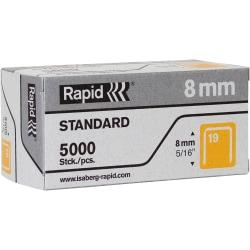 No. 19 fine wire staples are designed for use in the Rapid R23 and R19E Staple Guns. Perfect for securing thin materials in light-duty work and decoration, such as fabrics, paper and labels. Crown width of these 19/8 staples is 3/8in. (9.5mm). Leg length is 5/16in. (8mm).