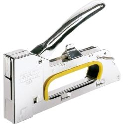 High durability, all-steel staple gun meets high demands from professional users. For use with No. 19 fine wire staples, the R23 Staple Gun is perfect for securing thin materials, such as fabrics, paper and labels. Durable staple gun is made with all-steel casing and mechanics. Locking function allows easy storage. Design also features adjustable force, noise damper and no recoil.