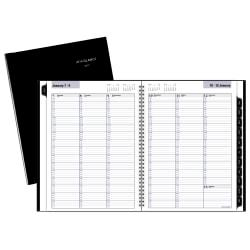 Make sure you have all of your upcoming events in 1 place with this highly effective planner, which offers quarter-hourly appointments during the week. The wirebound book provides a column-style format to help you organize thoughts and activities.  2 pages per week. Column-style layout and past, current and 2 future month reference calendars.  Quarter-hourly appointments run from 7:00 a.m. to 9:45 p.m. on Monday to Friday and from 7:00 a.m. to 6:45 p.m. on Saturday. Sunday space is untimed for flexible planning.  12 months: January to December with Julian dates.  Wirebound design secures the pages.  Paper is designed to resist ink bleed.
