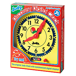 The Judy Discovery Digital Clock features a classic yellow design with visible green and red working gears. Simply turn the large knob on the back of the clock and watch the gears at work, moving the big red hands on the clock face in unison with the digital clock numbers. The synchronized digital clock, with its movable window below the analog clock, provides the perfect self-check for children who are just learning to read analog clocks. Clock is designed for children in kindergarten to third-grade (ages 5 to 8). Classic yellow design with visible green and red working gears  Synchronized digital clock provides self-check for children learning to read analog clocks. Just turn the large knob on the back of the clock and watch the gears at work, moving the big red hands on the clock face in unison with the digital clock numbers.  Now, learning to tell time with Judy/Instructo is even easier and more fun.  Additional activities included.