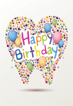 Tooth Balloons Happy Birthday Postcard Orthodontists Promo