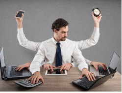 multi tasking office worker