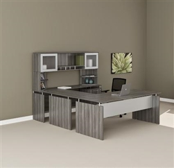 Discount Office Furniture   Conference Room Furniture   Waiting Room     Medina Gray Steel Wood Finished Straight Front U Desk MNT39LGS by Mayline