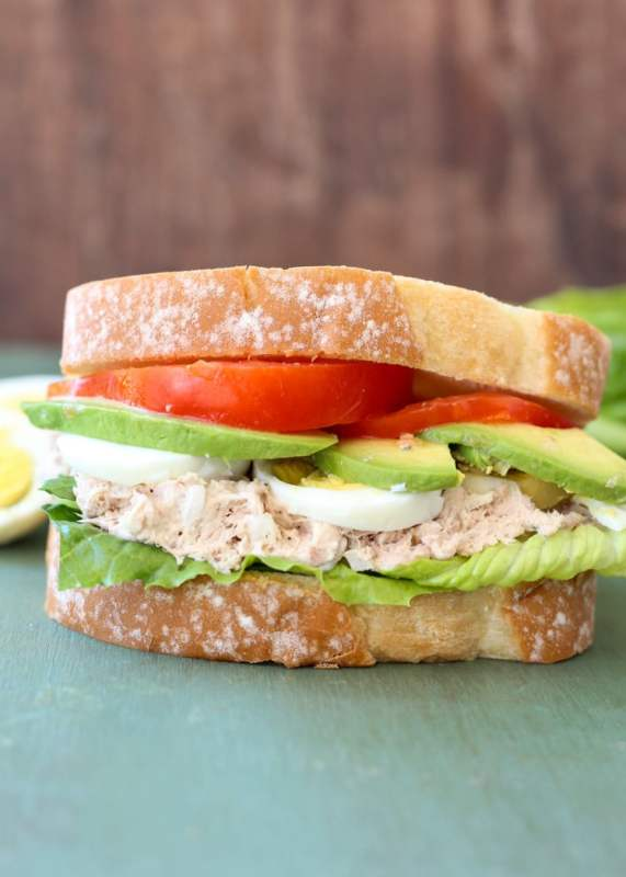 image of a tune avocado egg sandwich as a healthy snack for work