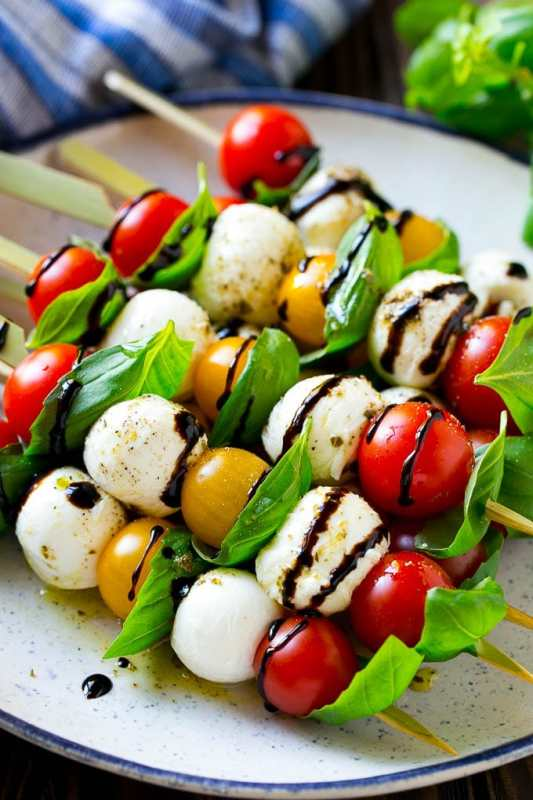 image of caprese skewers as a healthy snack for work