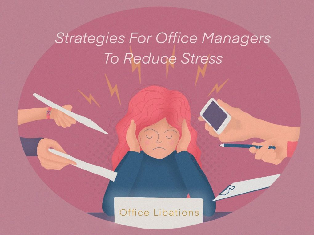 illustrated cover images for an article for office managers giving them strategies to minimize work-related stress by Office Libations
